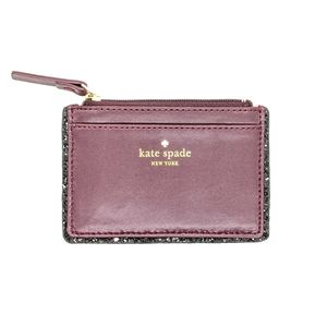 kate spade Leather Glitter Zip Card Case Holder